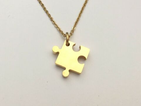 AUTISM AWARENESS NECKLACE JIGSAW PUZZLE PIECE PENDANT ASD ASPERGERS CHARM UK