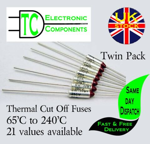 THERMAL FUSES 250V 10A ALUMINIUM CUT OFF 65 C TO 300 C 37 VALUES AVAILABLE