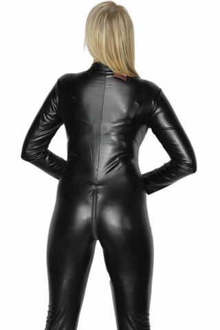 SEXY STRETCH 4 WAY BLACK ZIP WET PVC LOOK LATEX SPANDEX RUBBER VALENTINE CATSUIT