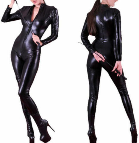 SEXY STRETCH 4 WAY BLACK WET PVC LOOK LATEX SPANDEX RUBBER VALENTINES CATSUIT