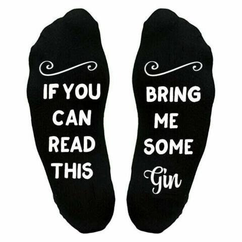IF YOU CAN READ THIS BRING ME A GIN NOVELTY SOCKS BIRTHDAY MOTHERS DAY GIFT