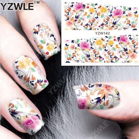 NAIL ART NAGEL STICKER WASSER TRANSFER TATTOO ORNAMENTE BLUMEN YZW142
