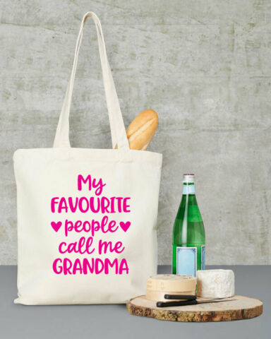 MY FAVOURITE PEOPLE CALL ME GRANDMA SHOPPER TOTE BAG CANVAS MOTHERS DAY BEIGE