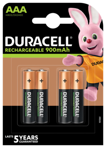 4 PACK DURACELL AAA RECHARGEABLE BATTERIES DURALOCK PRE STAY CHARGED 900MAH