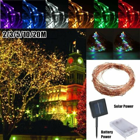 6 10 15 20M SOLAR POWERED WARM WHITE COPPER WIRE OUTDOOR STRING FAIRY LIGHT BK7
