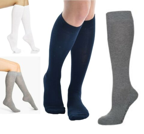 1 3 6 PAIRS WOMENS LONG KNEE HIGH COTTON PLAIN SCHOOL UNIFORM GIRLS SOCKS 4 7