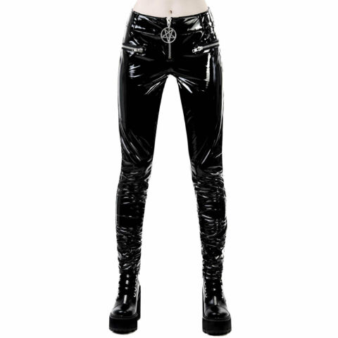 KILLSTAR DEMONS DJS LACK HOSE LEGGINGS DAMEN SCHWARZ HAUTENG PVC TROUSERS