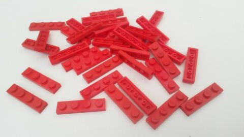 34X RED LEGO 1 X 4 FLAT PLATES USED CONDITION BR288