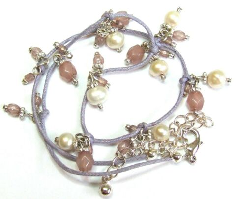 BEAUTIFUL PURPLE PINK GLASS FRESHWATER PEARL BEAD CHARM NECKLACE