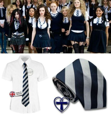 SCHOOL TIE ST TRINIANS TIES NAVY BLUE GREY FANCY DRESS UNIFORM BRITISH MADE