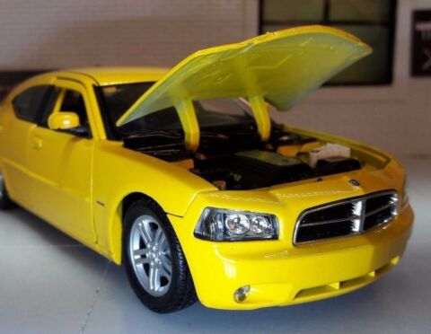 G 1 24 SCALE DODGE CHARGER DAYTONA R T 2006 GELB WELLY DRUCKGUSS MODELL AUTO