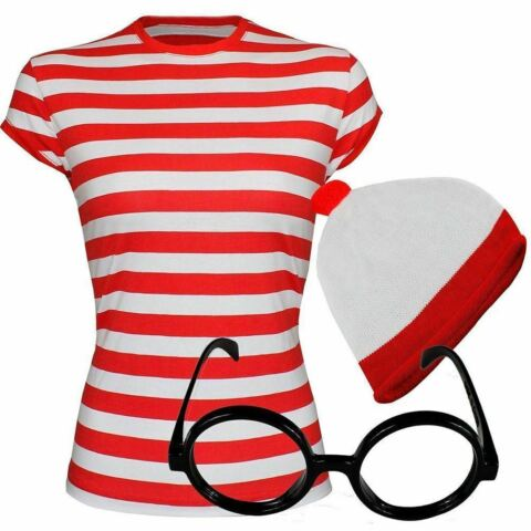 RED AND WHITE STRIPED T SHIRT GLASSES HAT SET WOMENS GIRLS FANCY BOOK DAY WEEK