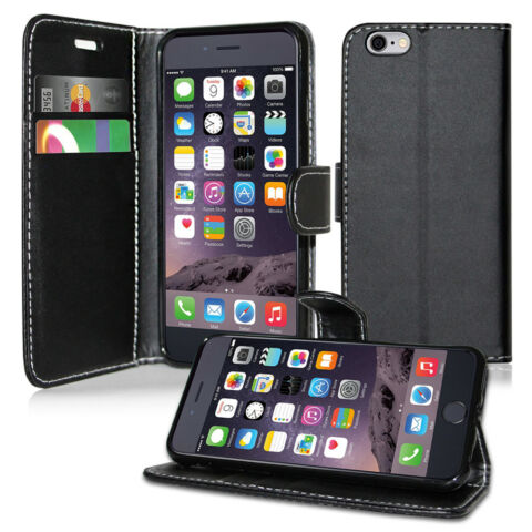 PLAIN BLACK LEATHER WALLET BOOK FLIP CARD HOLDER CASE FOR APPLE 4 5 6 7 8