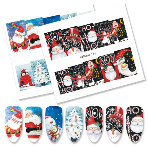 8PCS LEMOOC WEIHNACHTEN NAGEL KUNST WASSER STICKERS MANIK RE TRANSFERS DECOR
