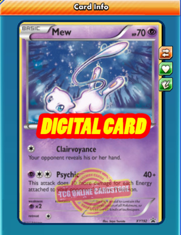 MEW PROMO XY192 FOR POKEMON TCG ONLINE PTCGO DIGITAL CARD