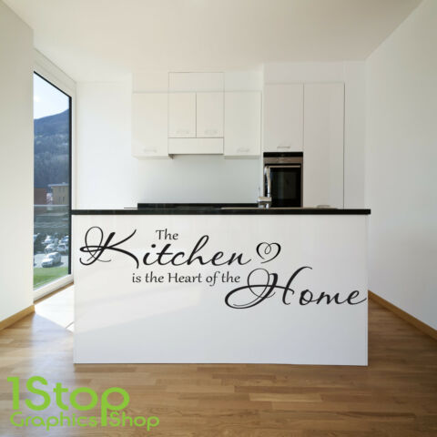 DIE K CHE IS THE HEART OF THE HOME WANDAUFKLEBER SPRUCH WANDKUNST X176