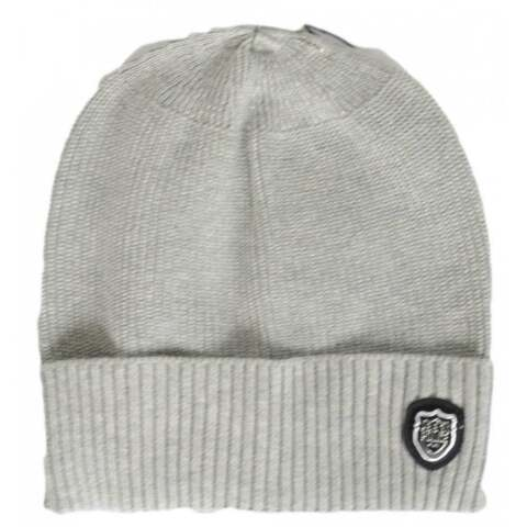 883 POLICE SOTTO RIBBED COTTON GREY BEANIE HAT