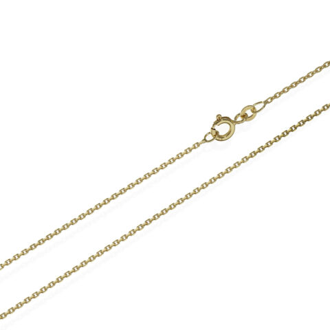 34CM ANKERKETTE COLLIER 333ER GELB GOLD KETTE DIAMANTIERT 1 3MM 1 8G 6626
