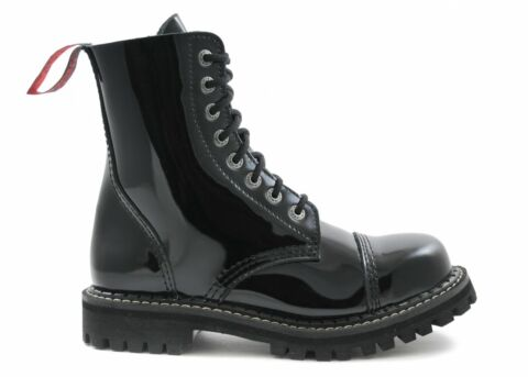 ANGRY ITCH 8 LOCH GOTHIC PUNK ARMY RANGER ARMEE LACKLEDER STIEFEL MIT STAHLKAP