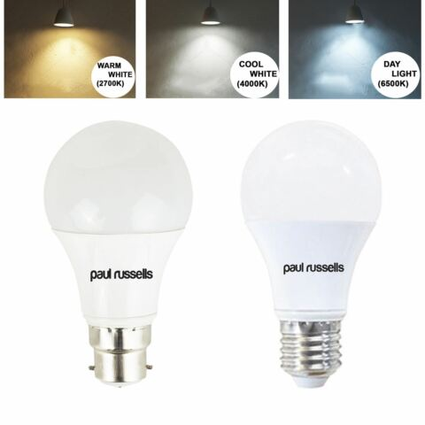 LED GLS BULB 5W 7W 12W B22 BC E27 ES 40W 60W 100W COOL WHITE WARM DAY LIGHT LAMP