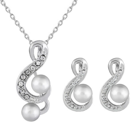 WHITE PEARL MUSICAL NOTES NECKLACE STUDS EARRINGS WEDDING PARTY JEWELRY SETPDH