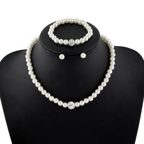 FASHION PEARL JEWELRY SETS LUXURY BALL PEARLS NECKLACE EARRINGS BRACELET SETS PD