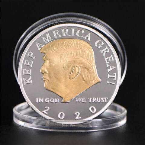 US PRESIDENT DONALD TRUMP 2020 SILVER GOLD PLATED CHALLENGE COIN NON CURRENCPDH