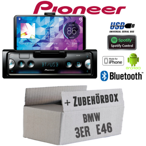 PIONEER RADIO F R BMW 3ER E46 BLUETOOTH SPOTIFY ANDROID IPHONE EINBAUSET PKW KFZ