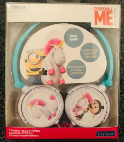 LEXIBOOK DESPICABLE ME MINION MADE STEREO HEADPHONES KIDS FOLD STORE EASY NEW