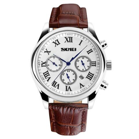 SKMEI LUXURY MENS WATCH POLISHED SILVER ROMAN NUMERALS GENUINE LEATHER STRAP