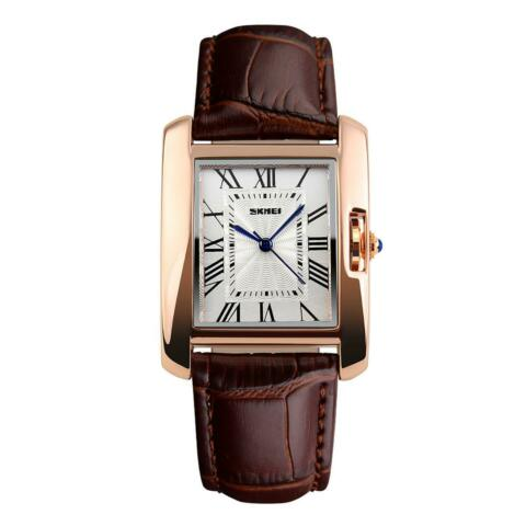 SKMEI WOMENS WATCH SQUARE ROSE GOLD ROMAN NUMERALS GENUINE LEATHER STRAP BROWN