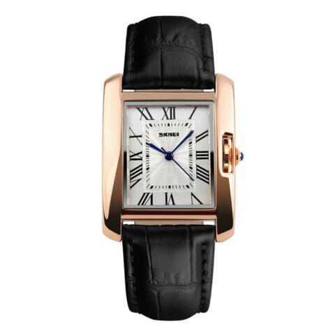 SKMEI WOMENS WATCH SQUARE ROSE GOLD ROMAN NUMERALS GENUINE LEATHER STRAP BLACK
