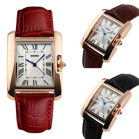 SKMEI WOMENS WATCH ROSE GOLD ROMAN NUMERALS GENUINE LEATHER STRAP 3 COLOURS UK