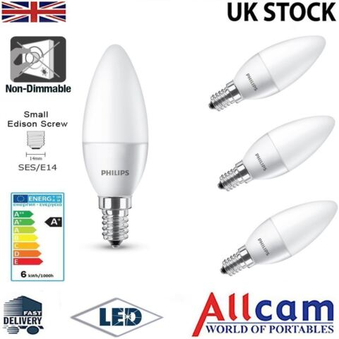 4 PACK PHILIPS 4W E14 LED CANDLE SMALL EDISON SCREW FROSTED WARM WHITE 250LM