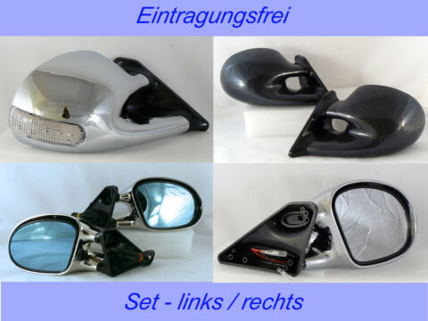 SPORTSPIEGEL SET CHROM DESIGN VW GOLF 5 LED BLINKER MANUELL VERSTELLB AB 10 03