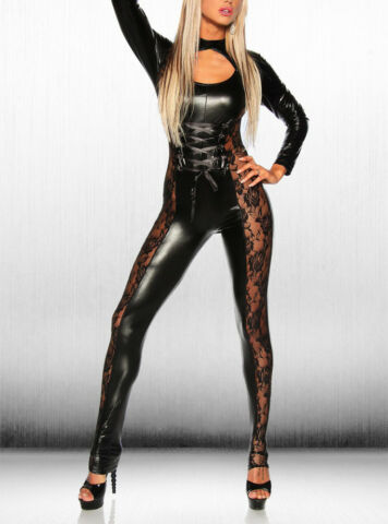DAMEN LACK LEDER WETLOOK JUMPSUIT LANGARM PLAYSUIT GOTHIC OVERALL CATSUIT CLUB