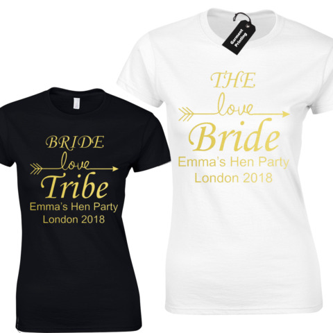 BRIDE TRIBE ARROW LADIES T SHIRT HEN DO GOLD PARTY GIRLS WEDDING PARTY BRIDE