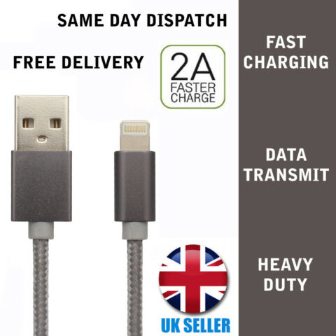 FOR IPHONE 5 6 6S 7 8 CHARGING LEAD DATA SYNC USB BRAIDED CABLE GREY 1M LONG