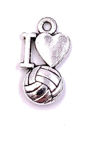 I LOVE VOLLEYBALL BALL CHARM ANH NGER KETTENANH NGER BASTELBEDARF SCHMUCK