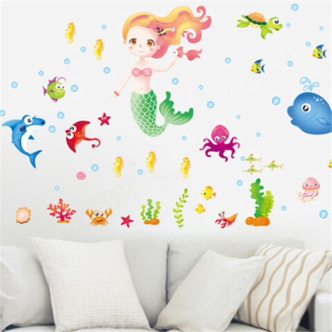 LOVELY MERMAID AND FISHES WALL STICKERS FOR GIRLS BEDROOM WINDOW WALL DECALS X