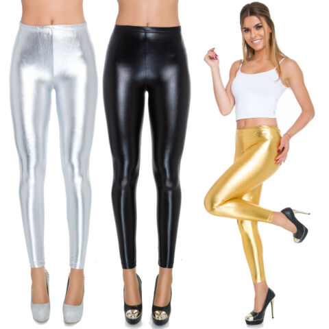 FULL LENGTH LATEX LEGGINGS WET LOOK IMITATION LEATHER CLASSIC HIGH WAIST 8 20