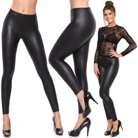 WOMENS FULL LENGTH LATEX LEGGINGS BLACK MAT FAUX LEATHER SKINNY SLIM PANTS 8 20
