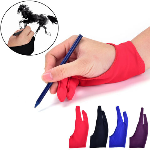 1PC TWO FINGER ANTI FOULING GLOVE FOR ARTIST DRAWING PEN GRAPHIC TABLET WR