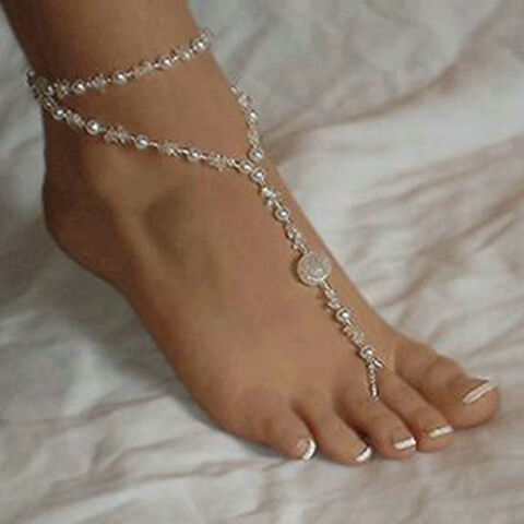 FASHION ANKLET CHAIN BRACELET BAREFOOT SANDAL BRIDAL BEACH PEARL FOOT JEWELRY AB