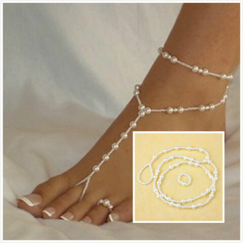 BRIDAL BEACH PEARL BAREFOOT SANDAL FOOT JEWELRY ANKLET BRACELET ANKLE CHAIN J