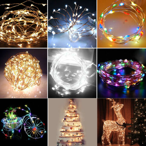 6 10 15 20M SOLAR POWERED WARM WHITE COPPER WIRE OUTDOOR STRING FAIRY LIGHT BUM
