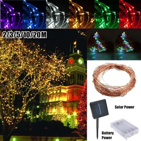 6 20M SOLAR POWERED WARM WHITE COPPER WIRE OUTDOOR STRING FAIRY LIGHT HA