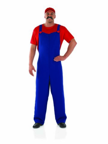 MENS SUPER MARIO PLUMBERS COSTUME RETRO 80S GAMERS OUTFIT AVAILABLE M TO XL