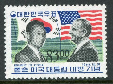 KOREA 1966 PRESIDENT JOHNSONHOHER WERT SCOTT 545 MNH G358