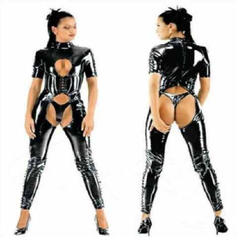 WOMEN BLACK OPEN BUST CROTCHLESS CATSUIT BODYSUIT CLUBWEAR EVENTS UK 8 18